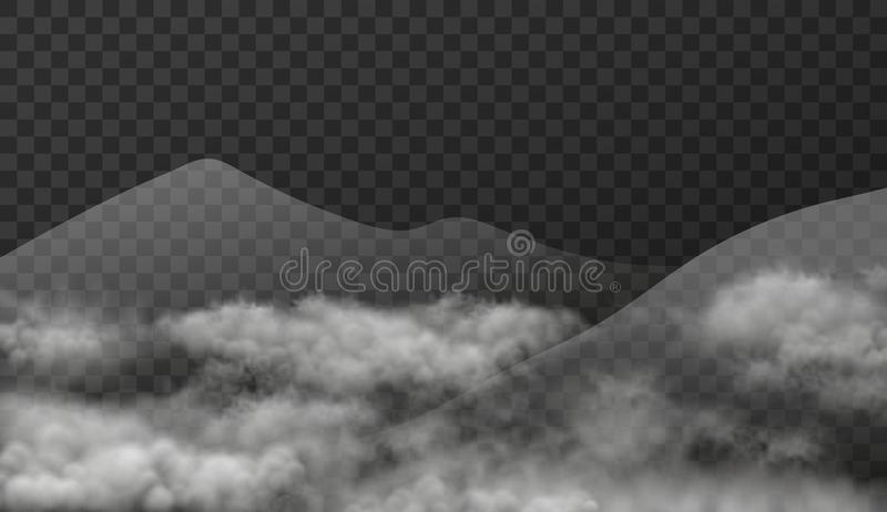 Cloudscape with mountains in mist isolated on transparent background. Vector texture illustration of realistic landscape with smok vector illustration