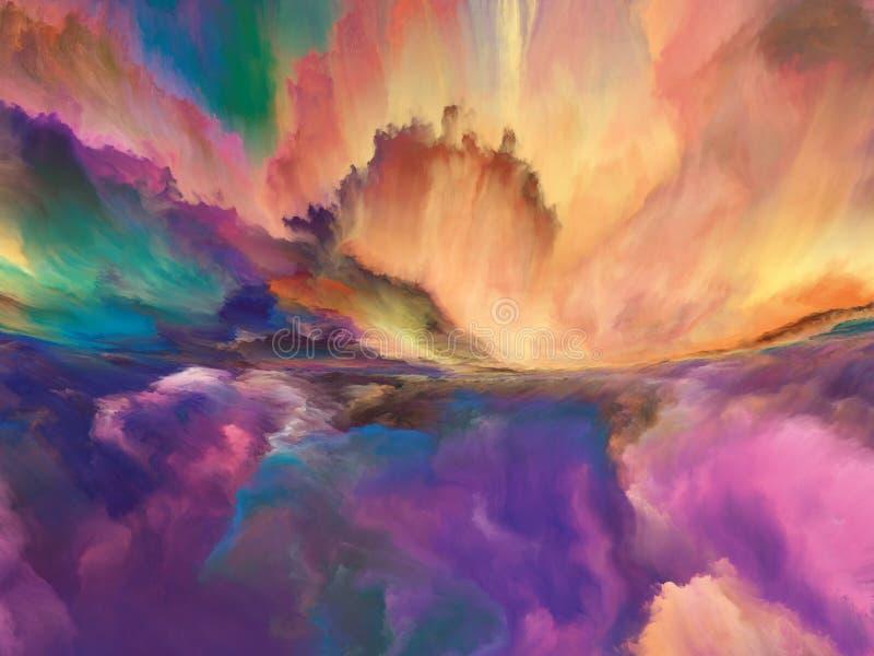 Cloudscape pintado surrealista ilustración del vector