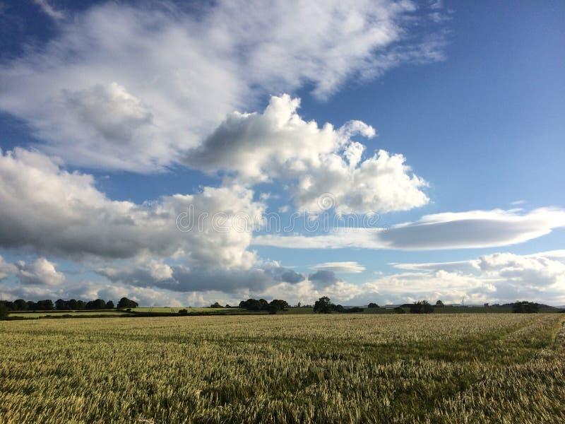 Cloudscape sobre tierras de labrantío imagenes de archivo