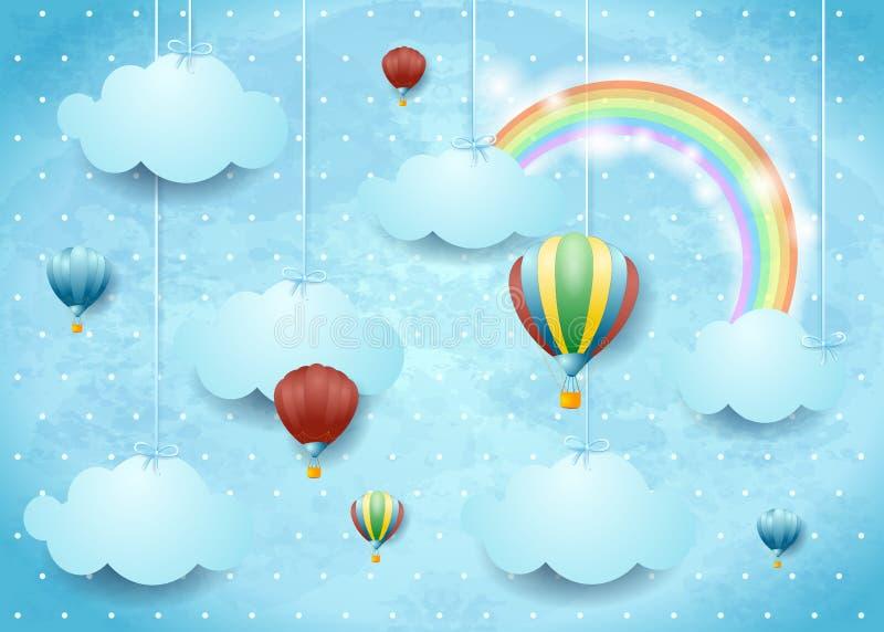 Cloudscape surrealista con los globos y el arco iris del aire caliente libre illustration