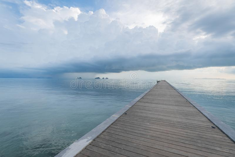 Cloudscapes on a Tropical Island, Ko Samui, Thailand, With a Wooden Bridge on Sea, Storm Clouds stock images