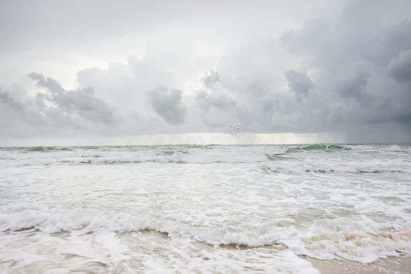 Cloudy beach before raining royalty free stock photo