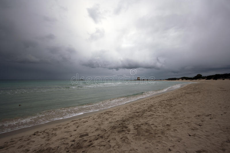 Cloudy beach royalty free stock image