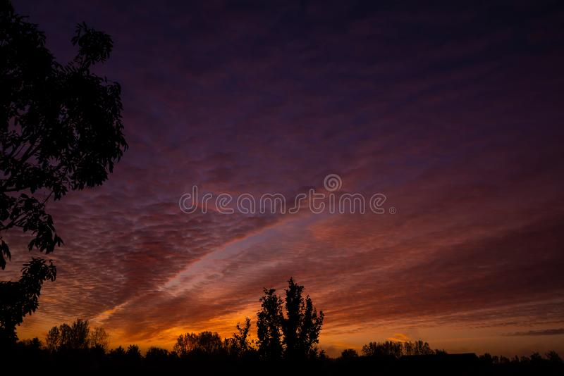Cloudy and beautiful sunrise in Emerson Valley, Milton Keynes. Cloudy and beautiful sunrise in autumn in Emerson Valley, Milton Keynes, United Kingdom stock photography