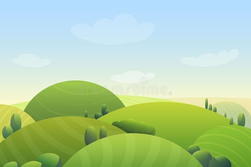 Cloudy blue sky over green hills and green trees in meadow cartoon cute vector illustration landscape. Cloudy blue sky over green hills and green trees in royalty free illustration