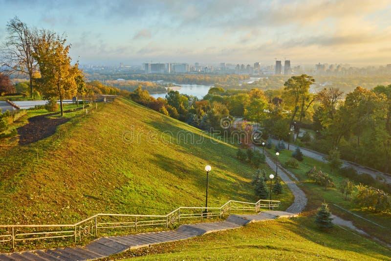 cloudy blue sky over the green park in Kyiv. Landscape shot. Par stock photos