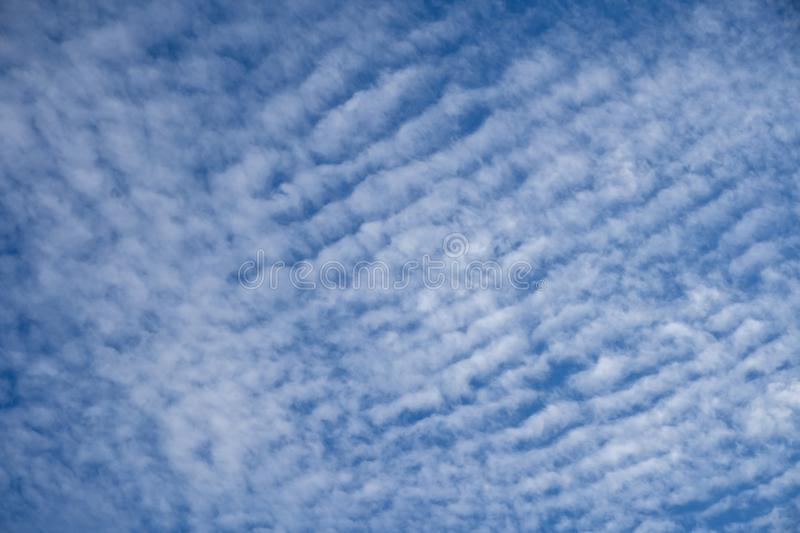 Puffy cloudy blue sky background. Cloudy blue sky taken on a summers day suitable for backgrounds royalty free stock photo