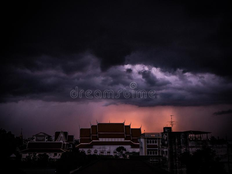 The cloudy clouds formed before the rain storms raged. Photos in the rainy season of Thailand Before the heavy rain of one evening royalty free stock photo
