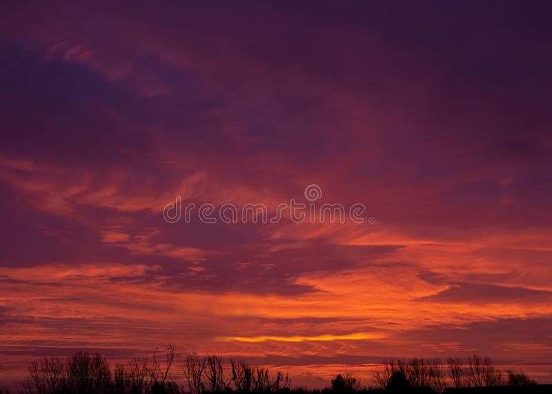Cloudy and colourful sunrise in Emerson Valley, Milton Keynes. United Kingdom stock photo