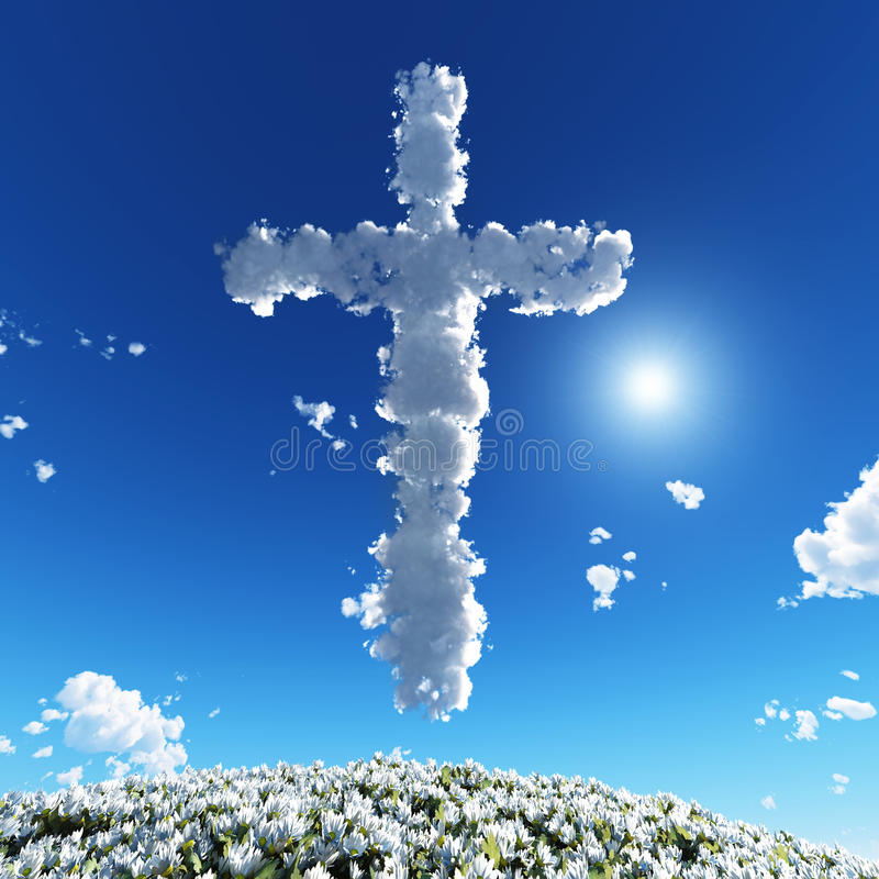 Cloudy cross in blue sky royalty free illustration