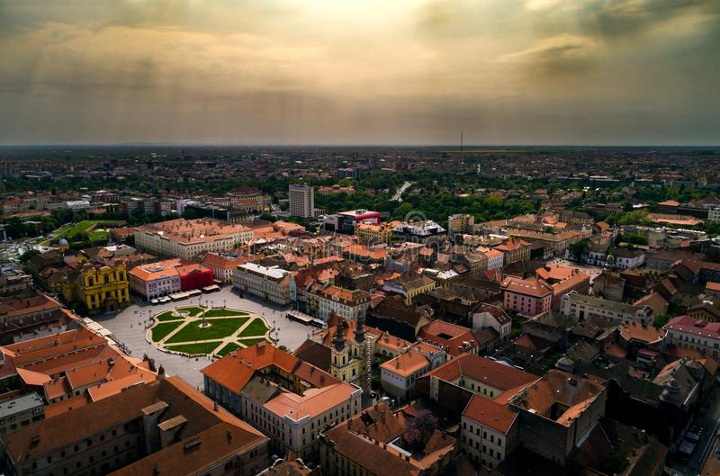 Cloudy day above Timisoara`s historical center stock photos