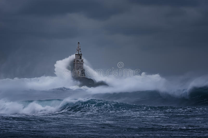 Download Cloudy Day. Dramatic Sky And Huge Waves At The Lighthouse, Ahtopol, Bulgaria Stock Photo - Image: 83705486