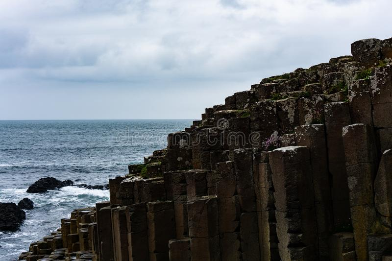 Cloudy day on Giant`s Causeway, Northern Ireland stock image