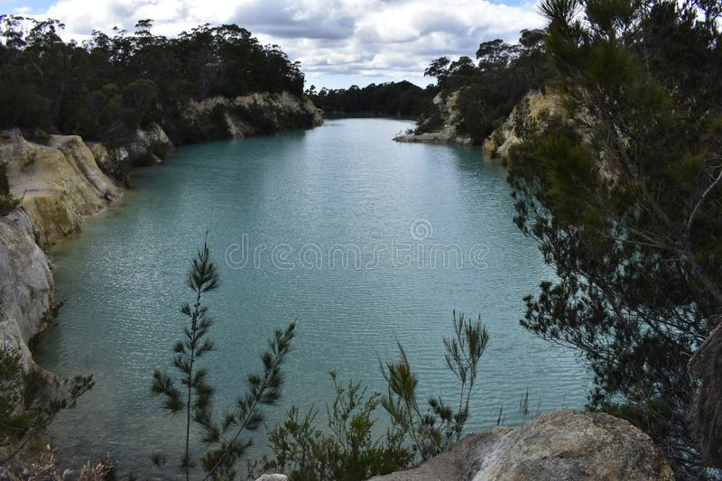 A cloudy day at Little Blue Lake stock image