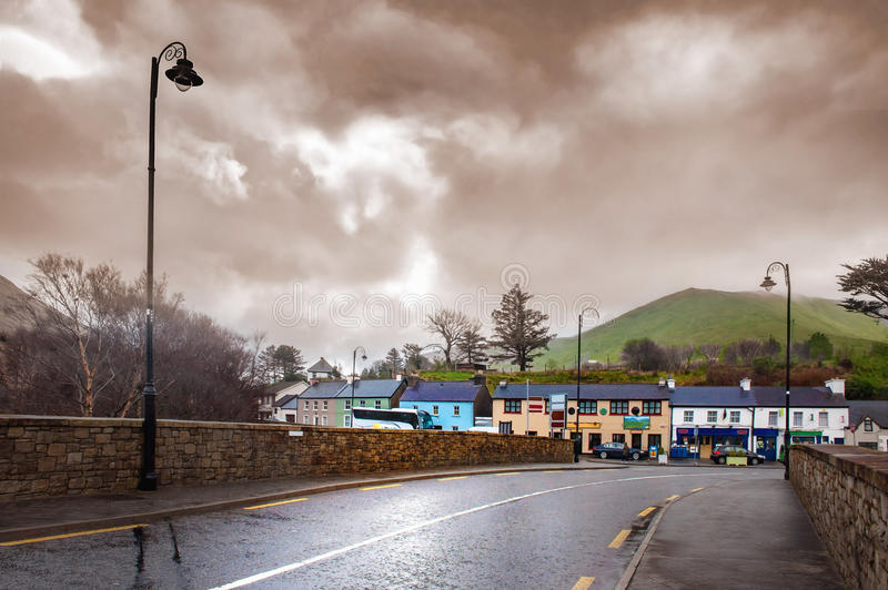 Cloudy day in a small town street of County Galway stock photo