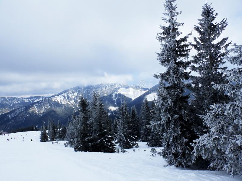 Cloudy day, snowy mountain peaks, cold winter day, Tatra Mountains, stock photography