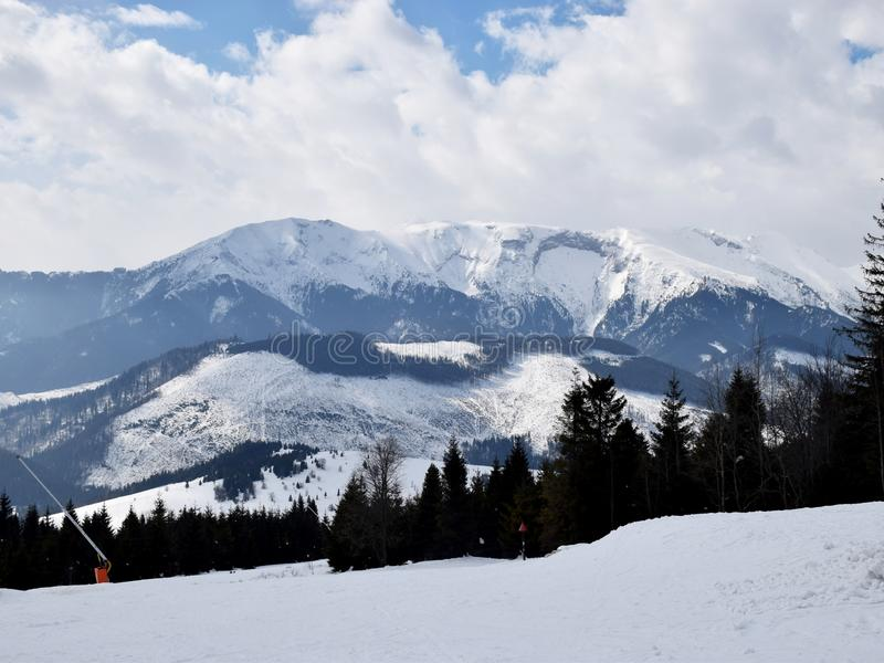 Cloudy day, snowy mountain peaks, cold winter day, Tatra Mountains, stock image