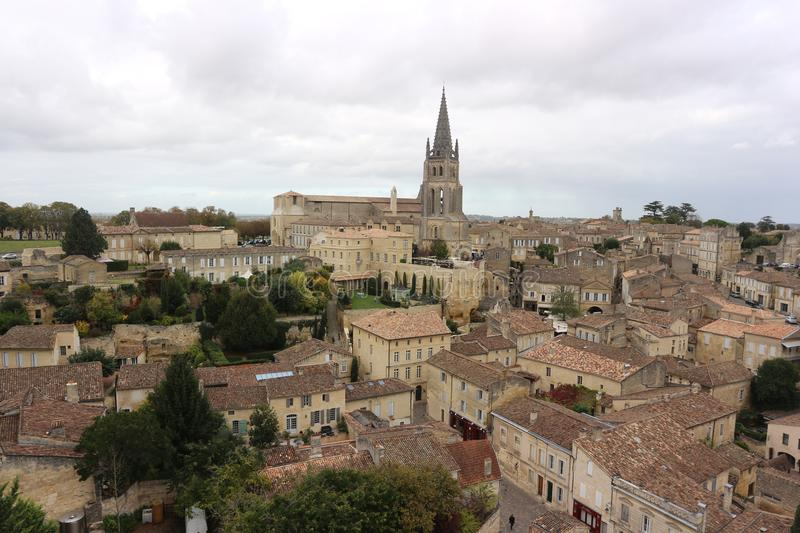 Cloudy day in St Emilion, France stock photography