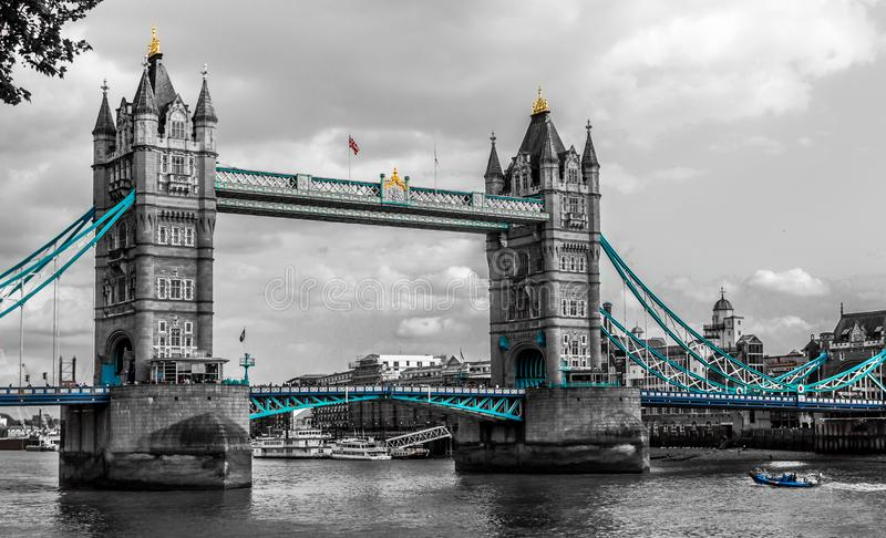 Cloudy day to see the Tower Bridge black and white, London, England. stock images