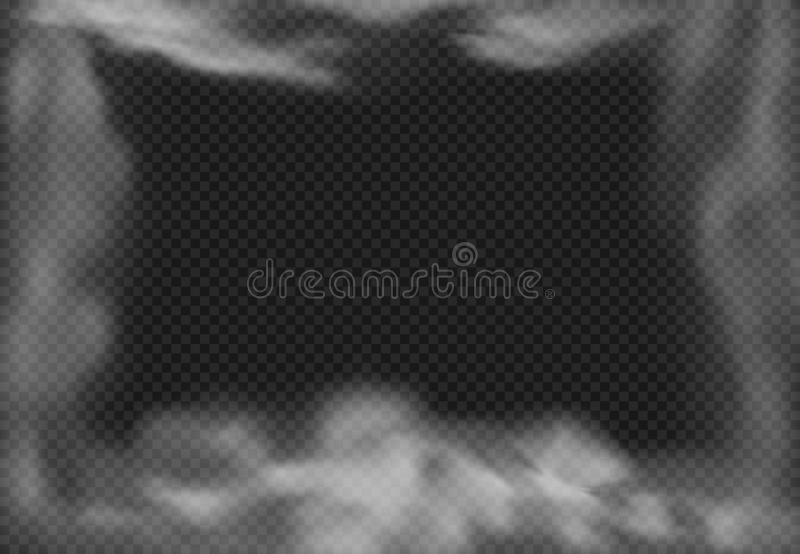 Cloudy frame. Smoky fog, smoke effect and realistic mist clouds isolated vector illustration stock illustration