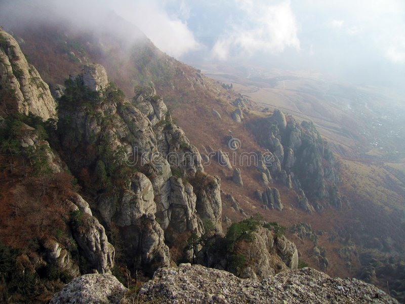 Cloudy Ghosts Vally. Demerdzhi Mountain Rocks. stock images