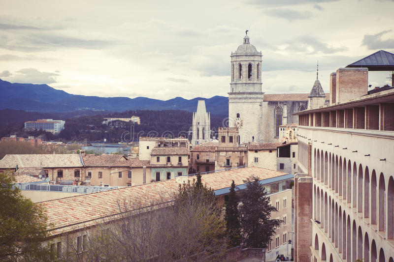 Download Cloudy Girona stock image. Image of europe, cathedral - 24620195