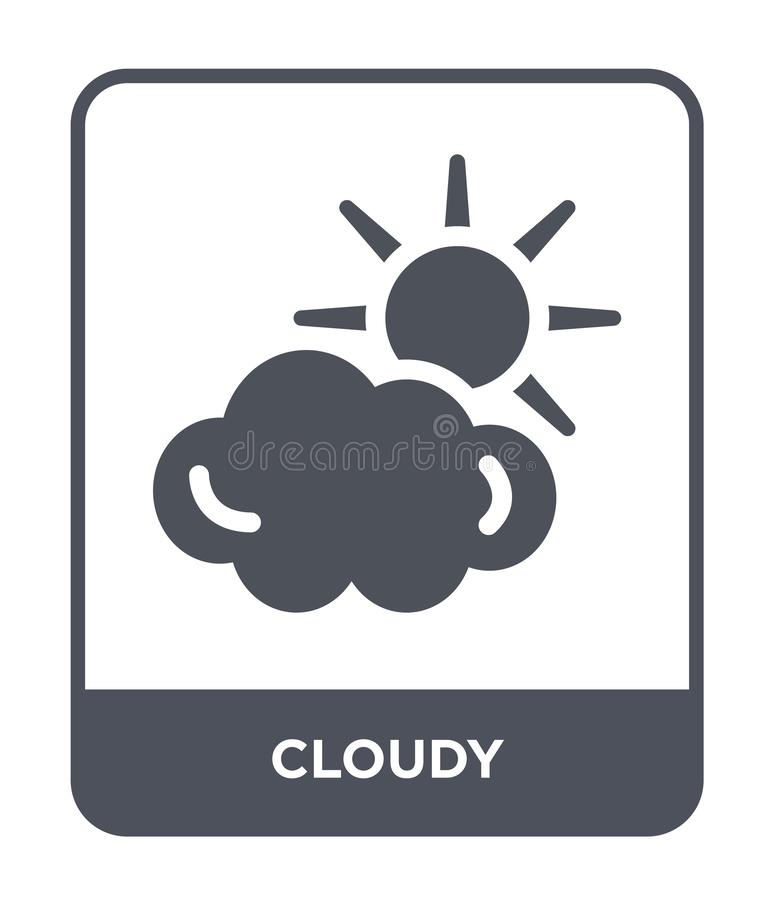 cloudy icon in trendy design style. cloudy icon isolated on white background. cloudy vector icon simple and modern flat symbol for stock illustration