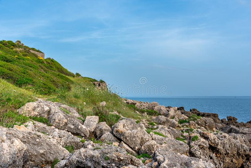 Cloudy landscape on the coast of Tyrrhenian sea between Scauri and Formia, Italy.  stock image