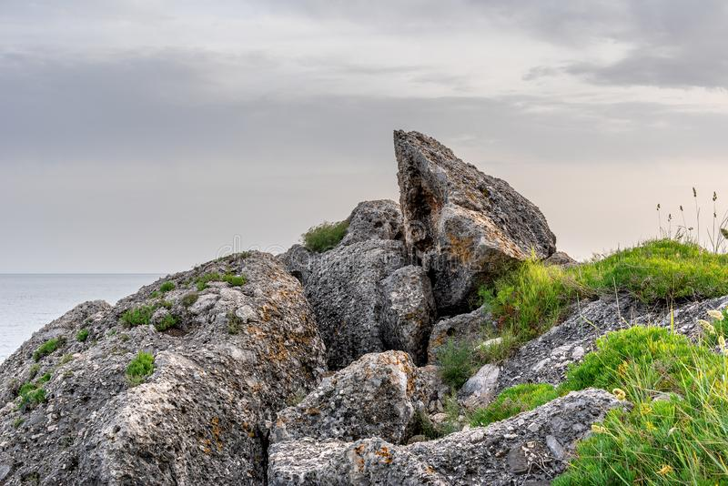Cloudy landscape on the coast of Tyrrhenian sea between Scauri and Formia, Italy.  royalty free stock photography