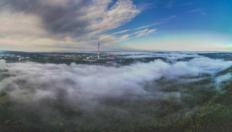 Cloudy misty morning in VIlnius, aerial panorama view stock image