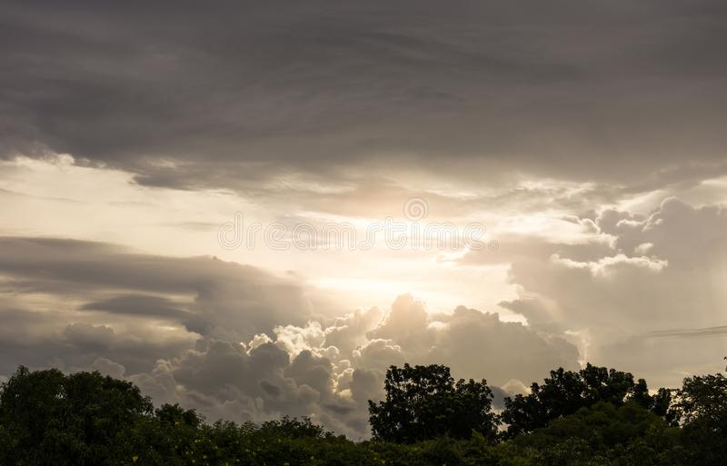 Cloudy and moody sky before storm royalty free stock photos