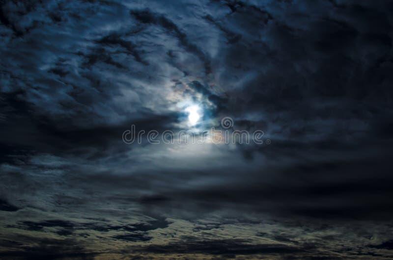 Cloudy Night Sky Moon. Moon coming through a winter sky stock photography