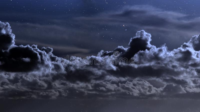 Cloudy night with stars stock photography