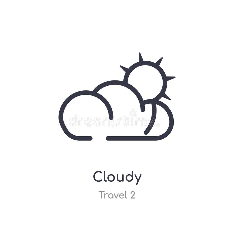 Cloudy outline icon. isolated line vector illustration from travel 2 collection. editable thin stroke cloudy icon on white. Background royalty free illustration
