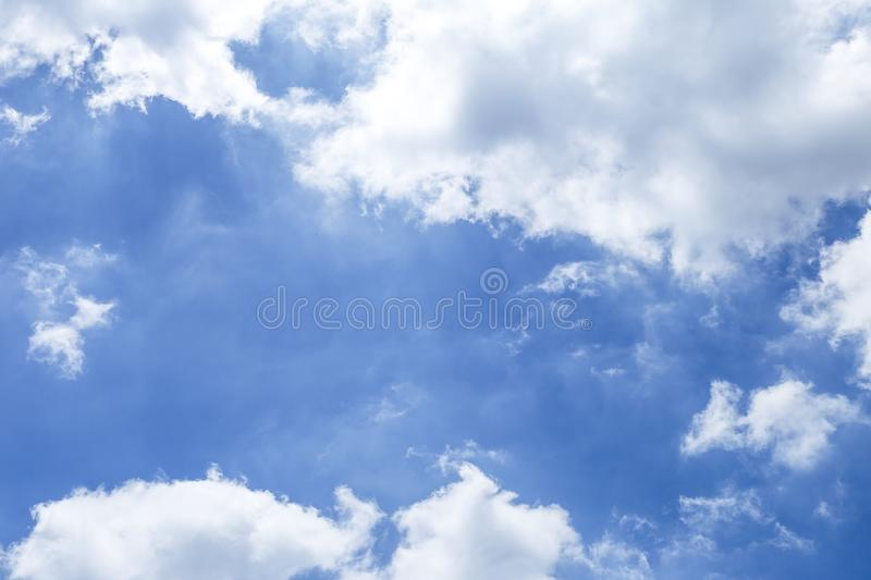 Cloudy over blue sky, rain cloud, sunny day, weather and season background. Nature concept royalty free stock photo