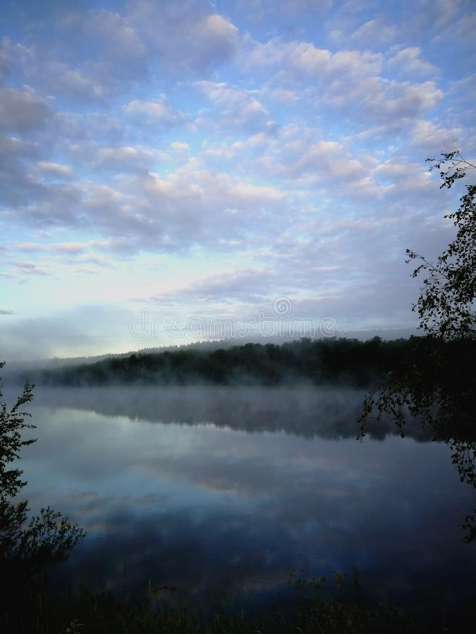 Cloudy river royalty free stock photography