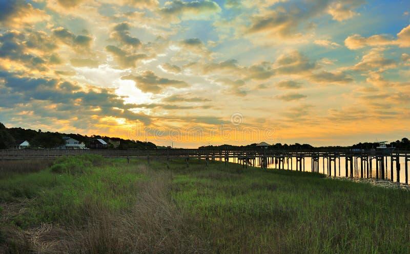 Cloudy Skies. Over the coastal waterway in North Carolina stock photos
