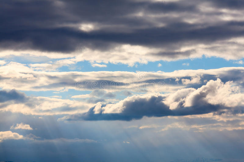 Cloudy sky. The texture is conveniently inserted into montages royalty free stock photography