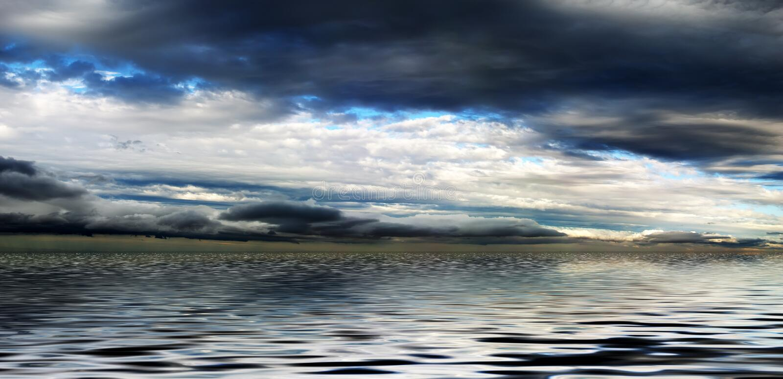 Cloudy Sky Above Water Panorama royalty free stock image