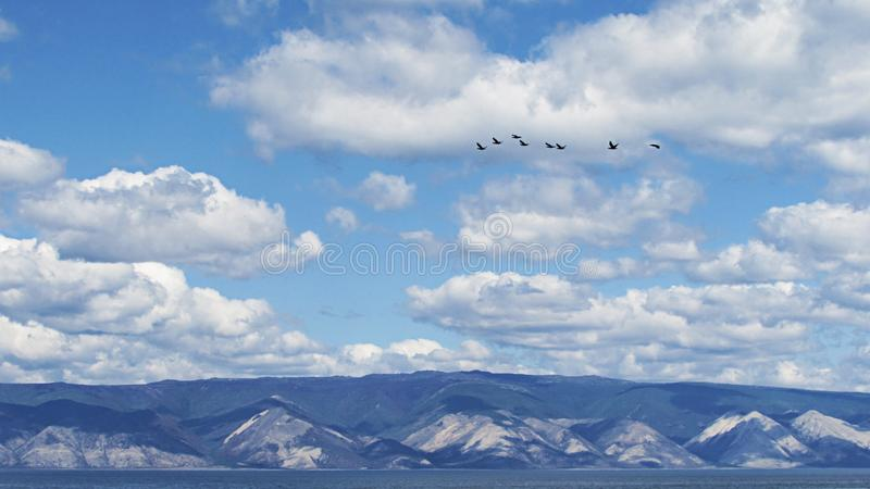 Cloudy sky on the background of the mountain coast with a flock of birds flying in the heaven. royalty free stock photo