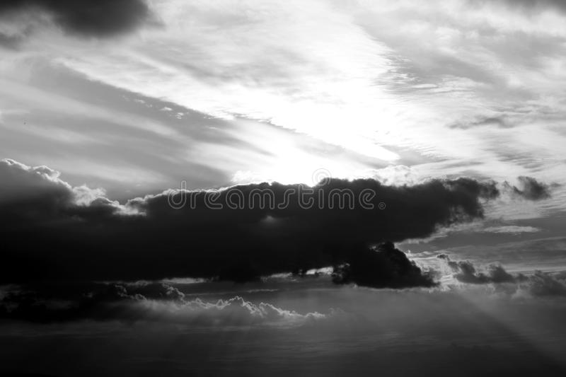 Cloudy sky in black and white royalty free stock photography