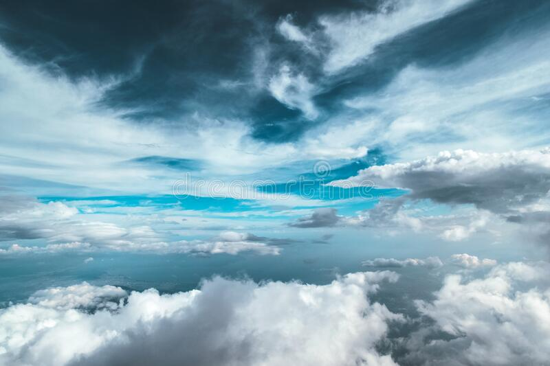 Cloudy Sky With Cirrus on Top and Cumulus Below It stock image