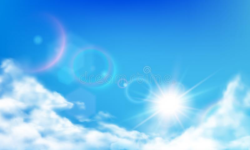 Cloudy sky. Daytime bright sun, sunny day clouds and realistic cloud in blue sky realistic vector background. Cloudy sky. Daytime bright sun, sunny day clouds royalty free illustration