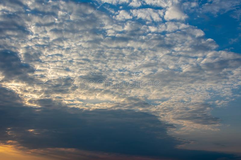 Cloudy sky at evening light. Location: Germany, North Rhine-Westphalia stock photography