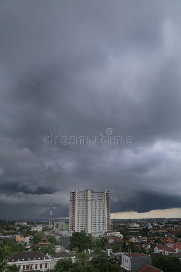 The cloudy sky. Hovering over the densely populated city surakarta.pemukiman in the Central Java city of Surakarta Indonesia. the growing level of occupancy royalty free stock image