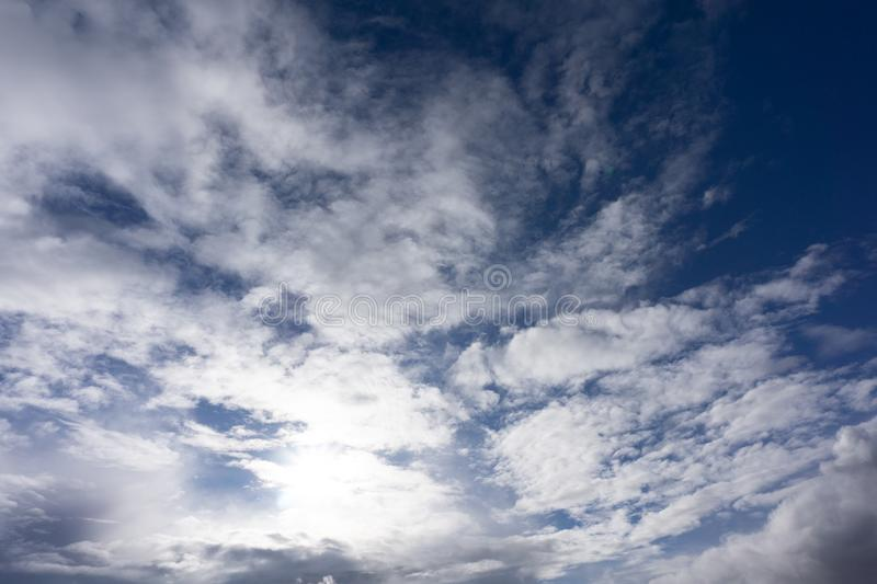 Cloudy sky outdoor oxygen ozone peace pure.  royalty free stock photos