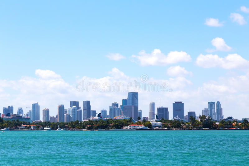 Download Cloudy Sky Over The Water And Miami City, Florida. Stock Image - Image of seashore, palm: 42046031