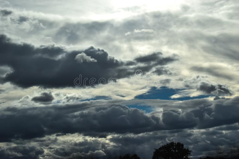 Cloudy sky on a summer day stock photography