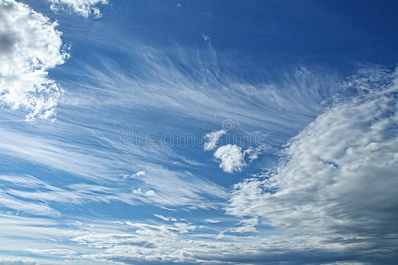 Cloudy sky in summer stock photography
