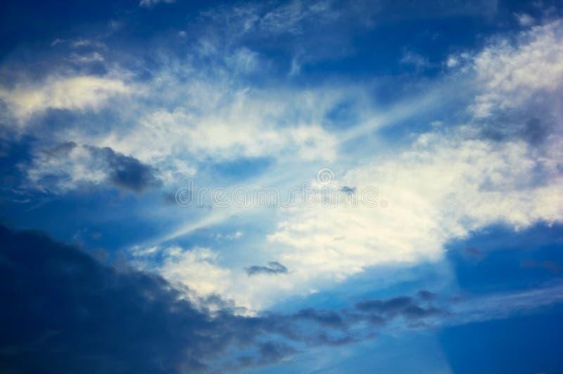 Cloudy sky at sunset stock image